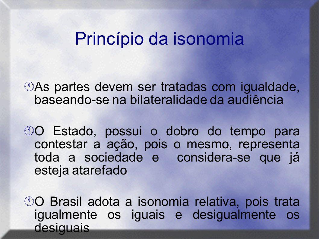 Princípio da isonomia As partes devem ser tratadas com igualdade, baseando-se na bilateralidade da audiência.