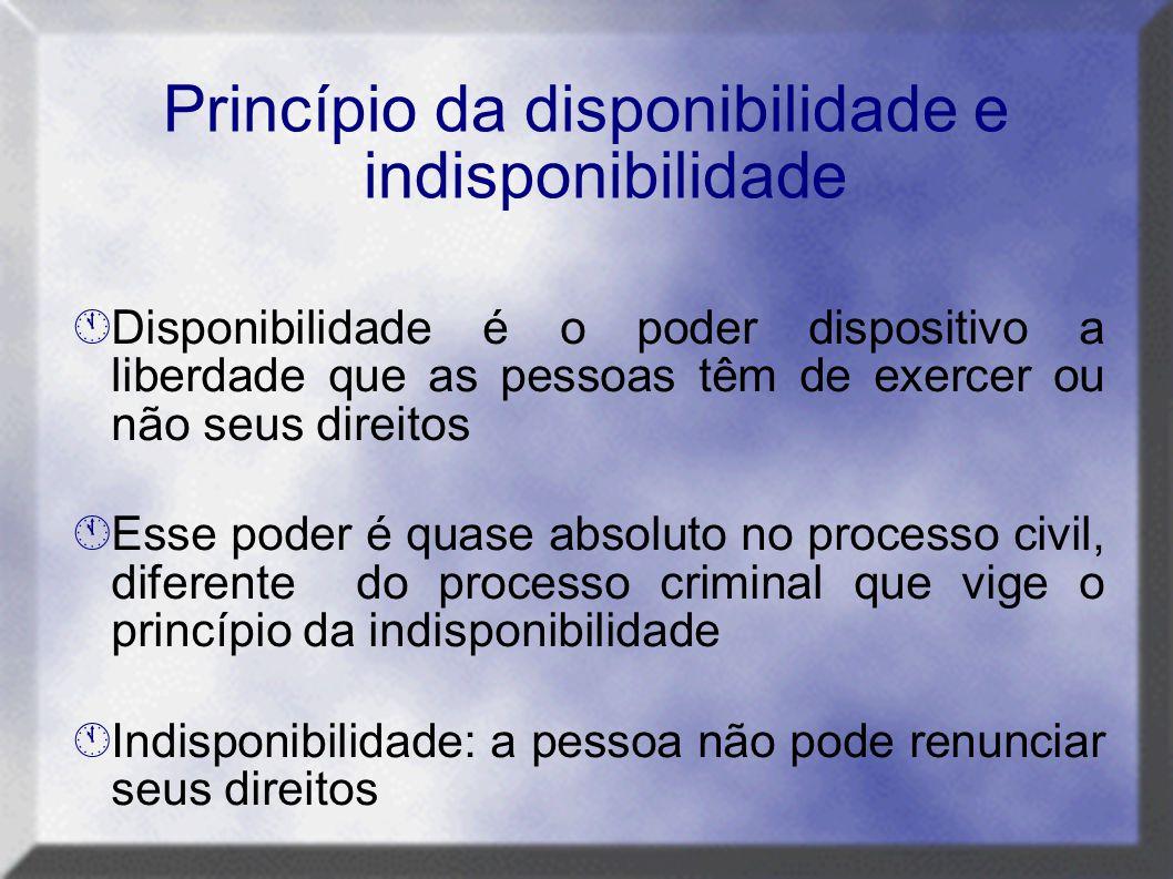 Princípio da disponibilidade e indisponibilidade