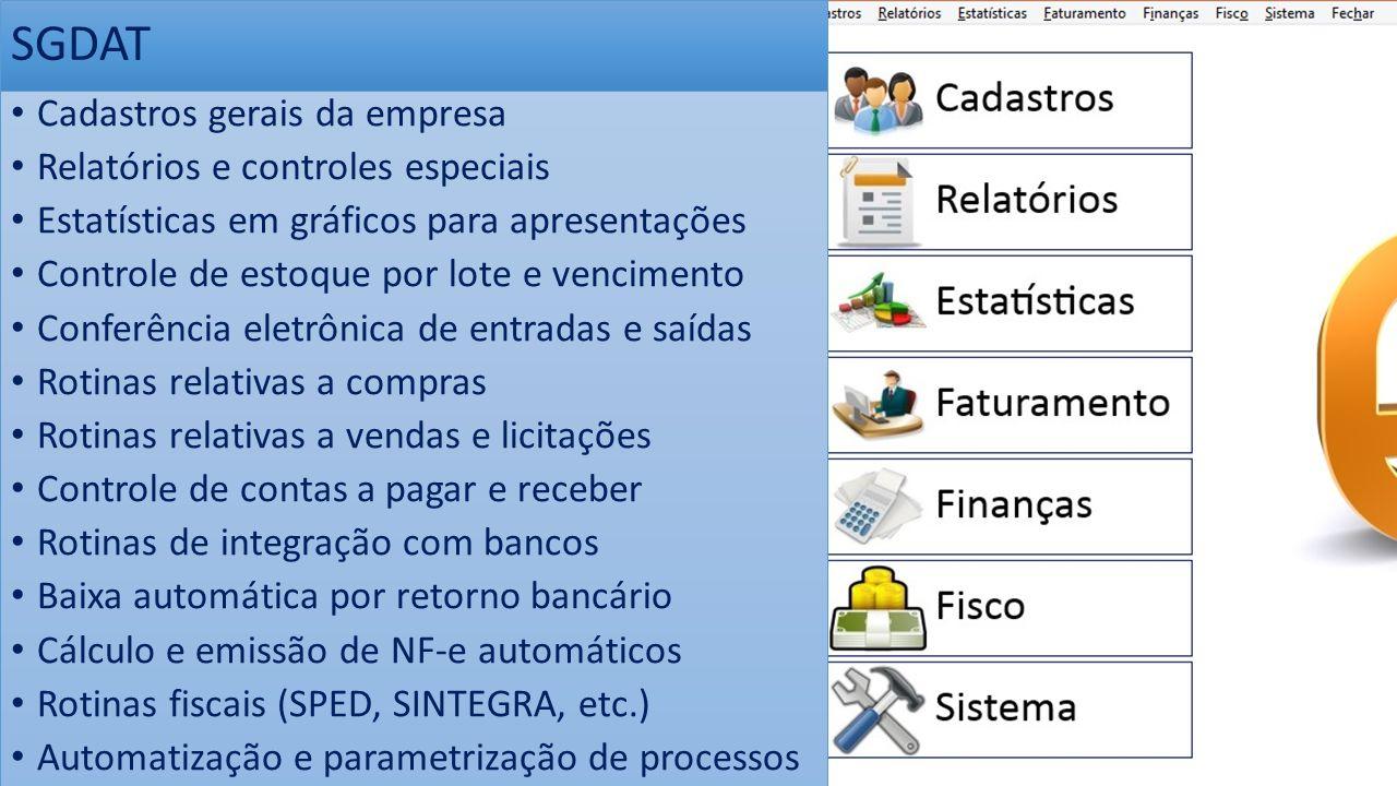 SGDAT Cadastros gerais da empresa Relatórios e controles especiais