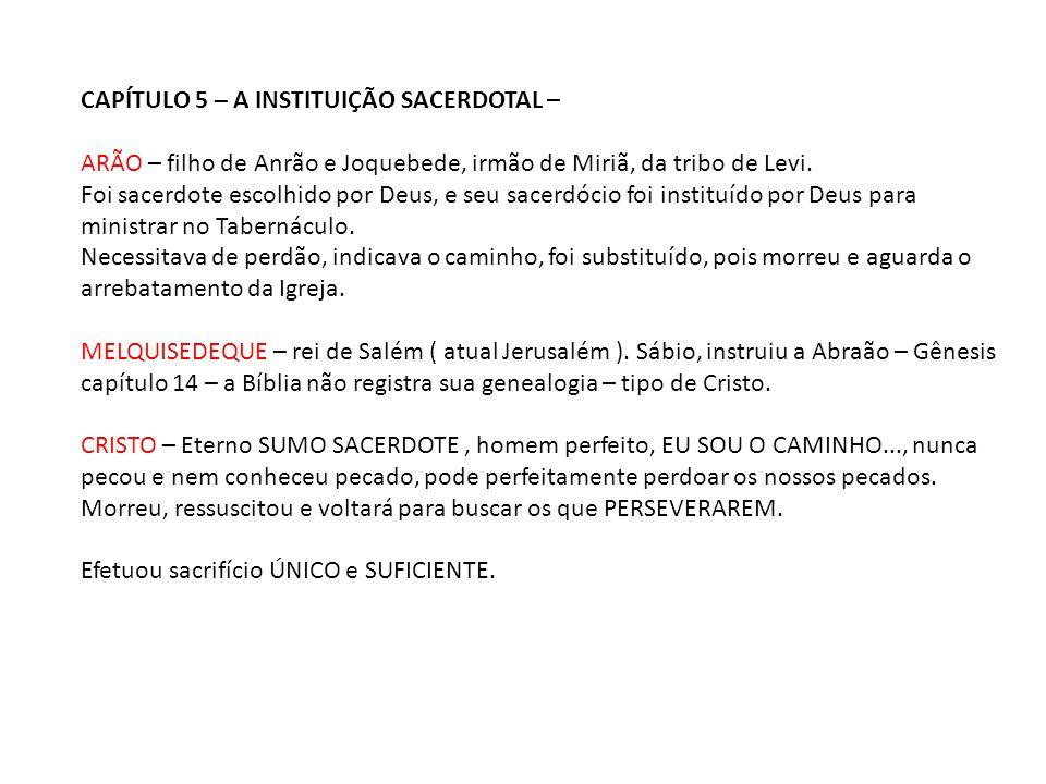 CAPÍTULO 5 – A INSTITUIÇÃO SACERDOTAL –