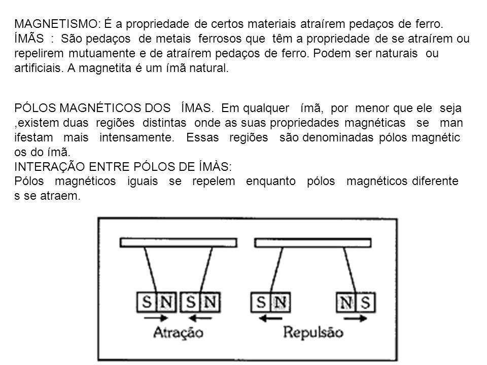 MAGNETISMO: É a propriedade de certos materiais atraírem pedaços de ferro.