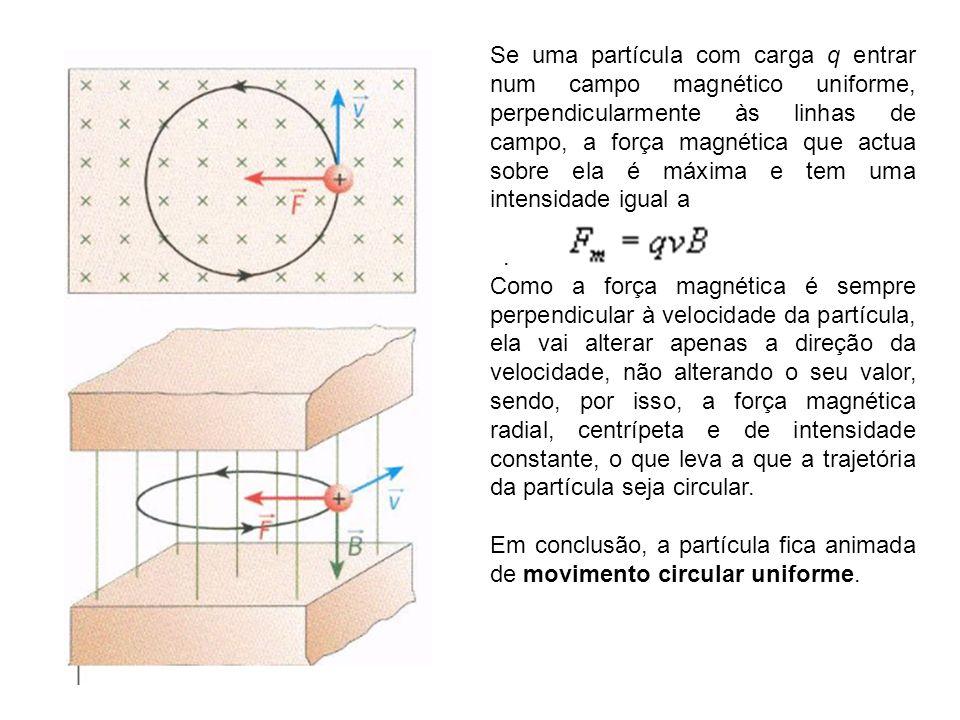 Se uma partícula com carga q entrar num campo magnético uniforme, perpendicularmente às linhas de campo, a força magnética que actua sobre ela é máxima e tem uma intensidade igual a