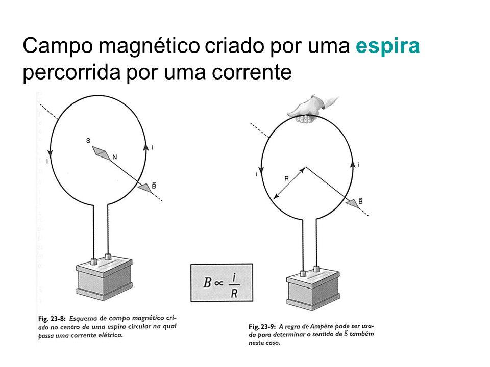 Campo magnético criado por uma espira percorrida por uma corrente