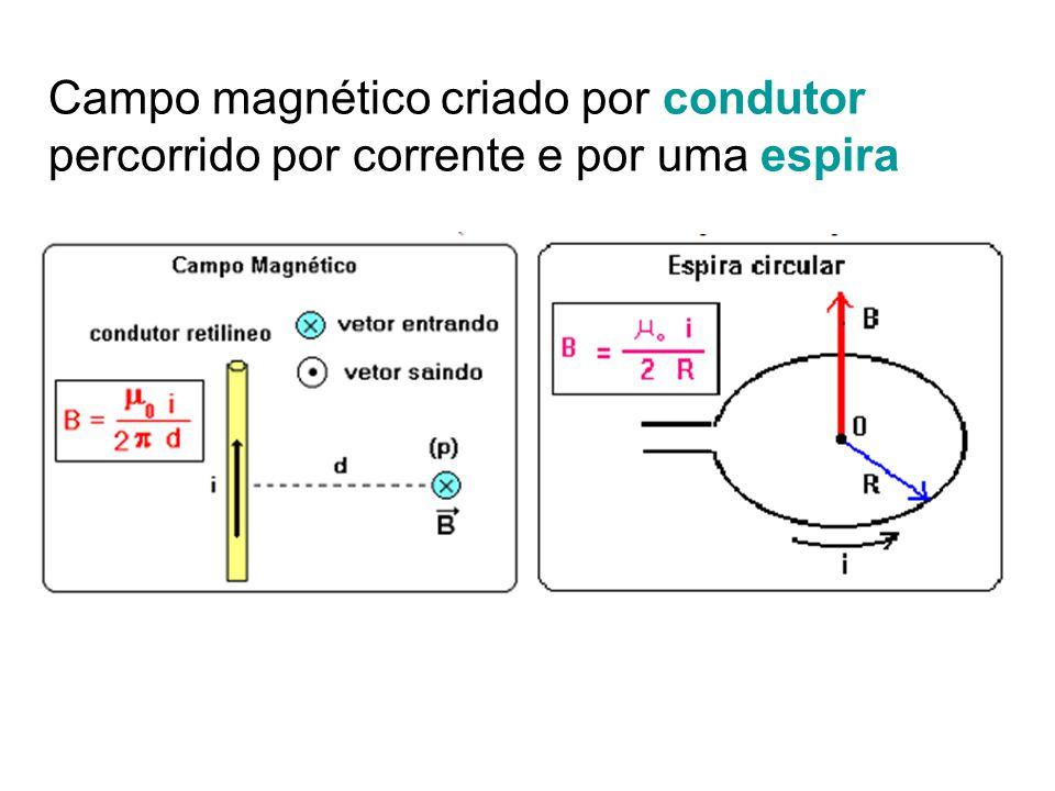 Campo magnético criado por condutor percorrido por corrente e por uma espira