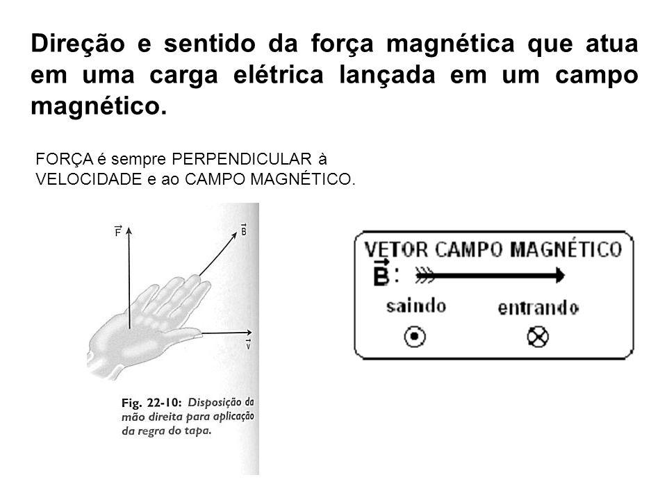 Direção e sentido da força magnética que atua em uma carga elétrica lançada em um campo magnético.