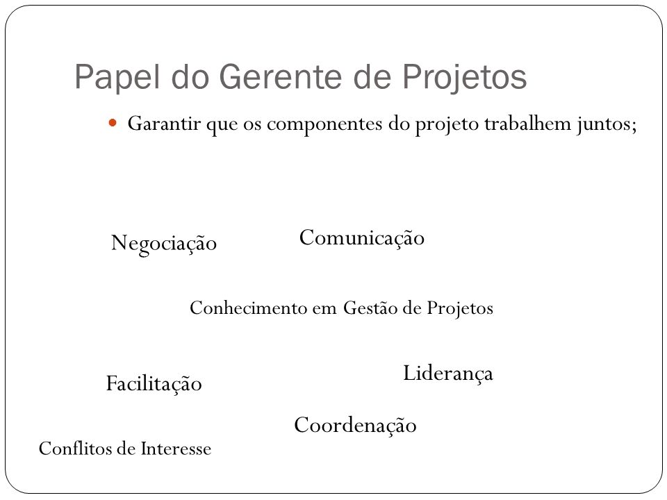 Papel do Gerente de Projetos