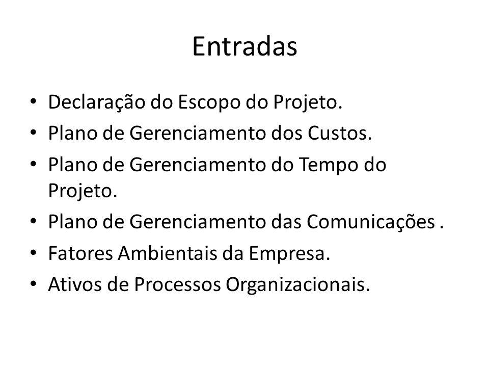 Entradas Declaração do Escopo do Projeto.