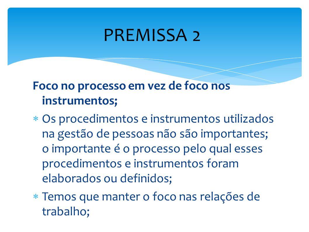 PREMISSA 2 Foco no processo em vez de foco nos instrumentos;