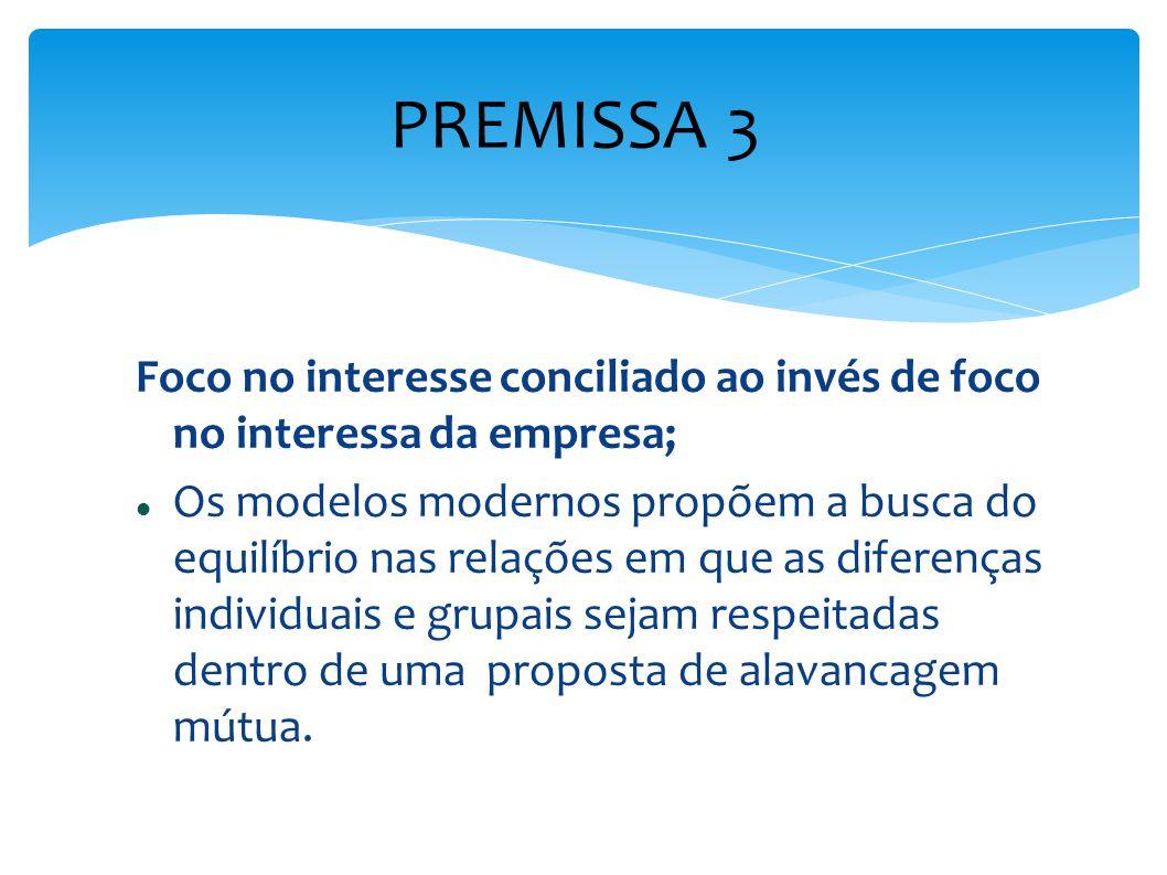 PREMISSA 3 Foco no interesse conciliado ao invés de foco no interessa da empresa;
