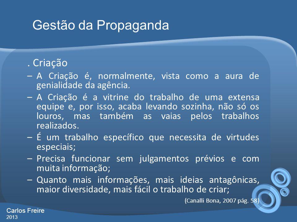 Gestão da Propaganda . Criação