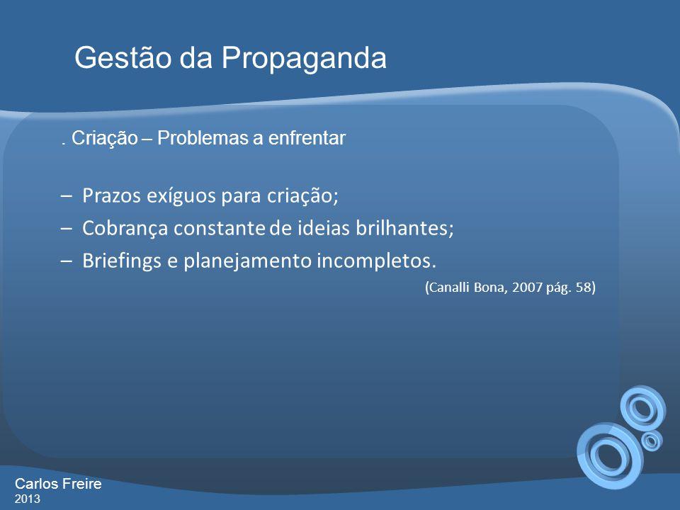Gestão da Propaganda Prazos exíguos para criação;