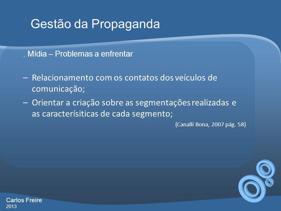 Gestão da Propaganda . Mídia – Problemas a enfrentar. Relacionamento com os contatos dos veículos de comunicação;