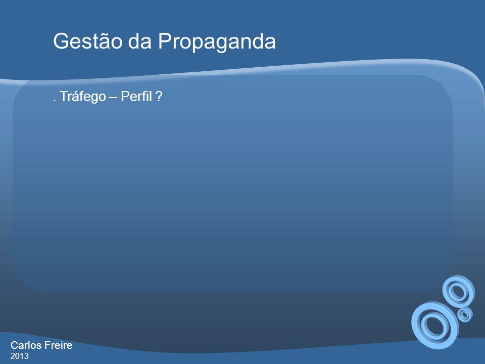 Gestão da Propaganda . Tráfego – Perfil Carlos Freire 2013