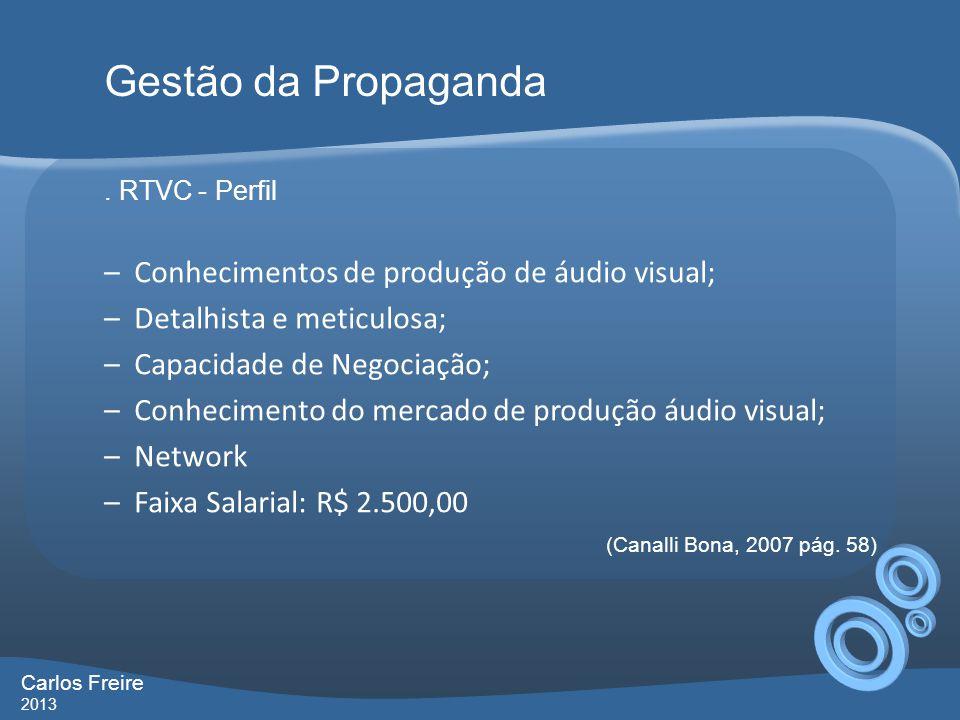 Gestão da Propaganda Conhecimentos de produção de áudio visual;