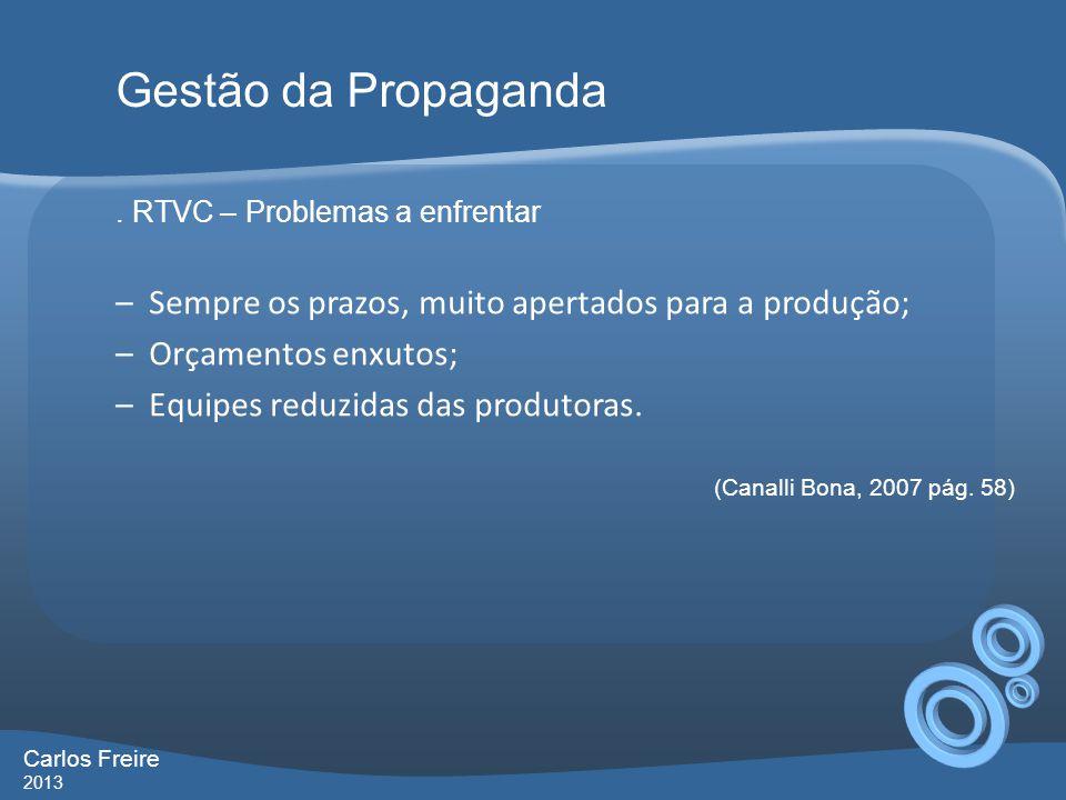 Gestão da Propaganda . RTVC – Problemas a enfrentar. Sempre os prazos, muito apertados para a produção;