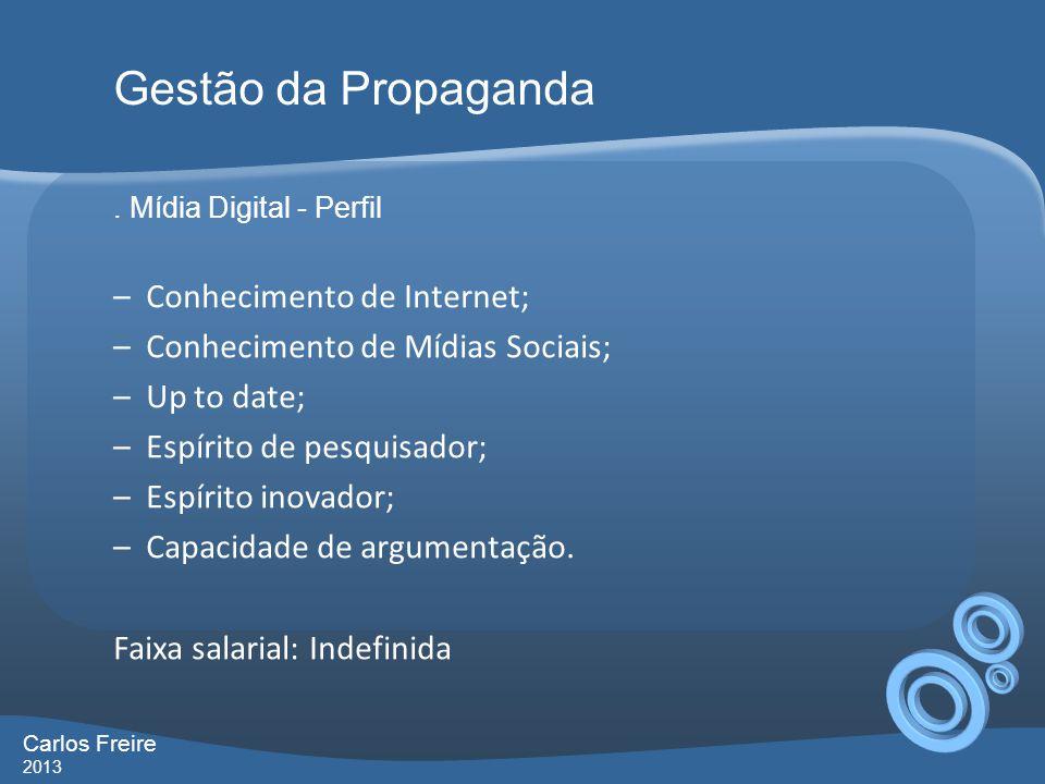 Gestão da Propaganda Conhecimento de Internet;