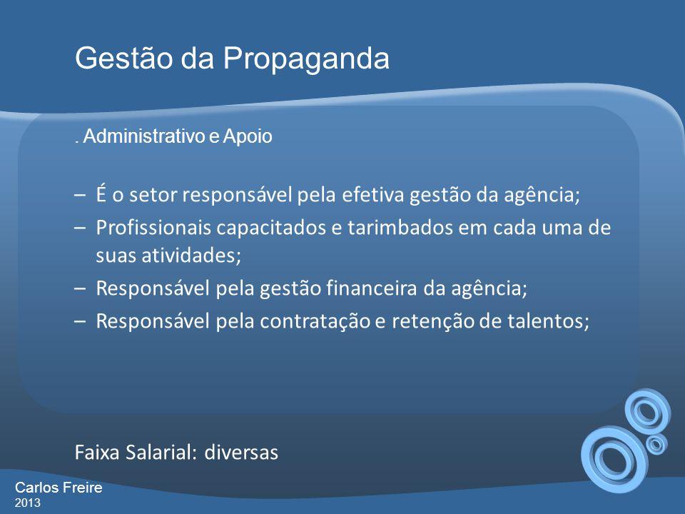 Gestão da Propaganda . Administrativo e Apoio. É o setor responsável pela efetiva gestão da agência;