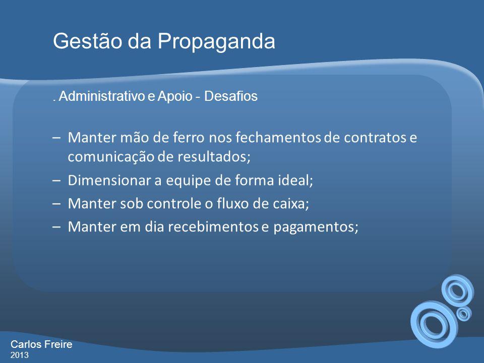 Gestão da Propaganda . Administrativo e Apoio - Desafios. Manter mão de ferro nos fechamentos de contratos e comunicação de resultados;