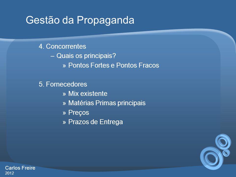 Gestão da Propaganda 4. Concorrentes Quais os principais