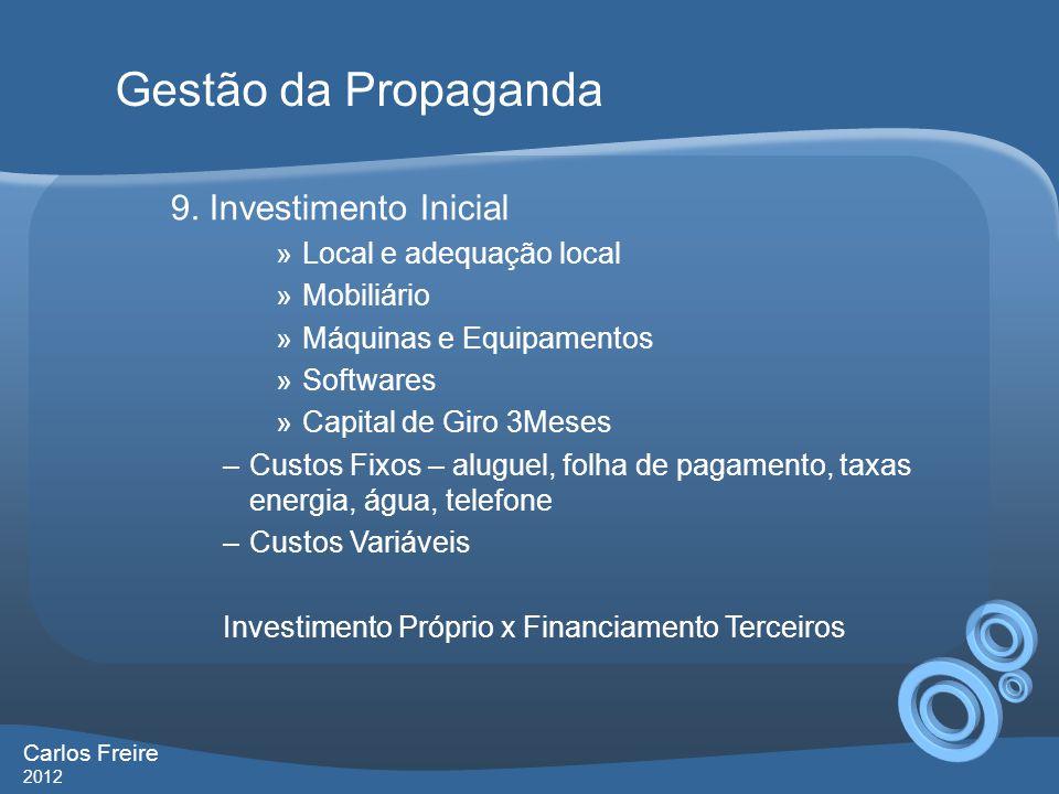 Gestão da Propaganda 9. Investimento Inicial Local e adequação local