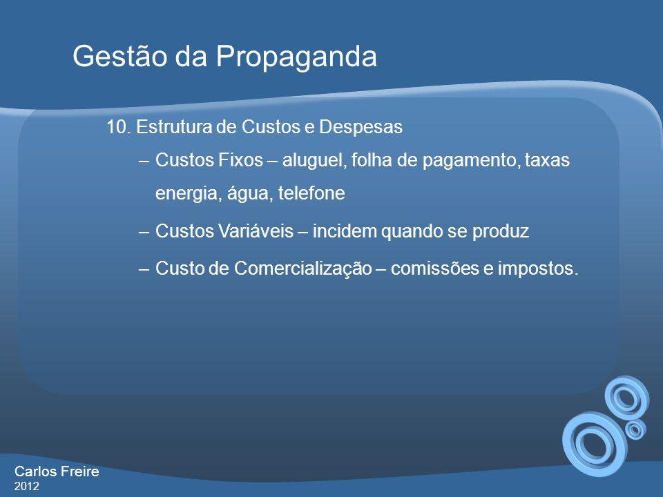 Gestão da Propaganda 10. Estrutura de Custos e Despesas