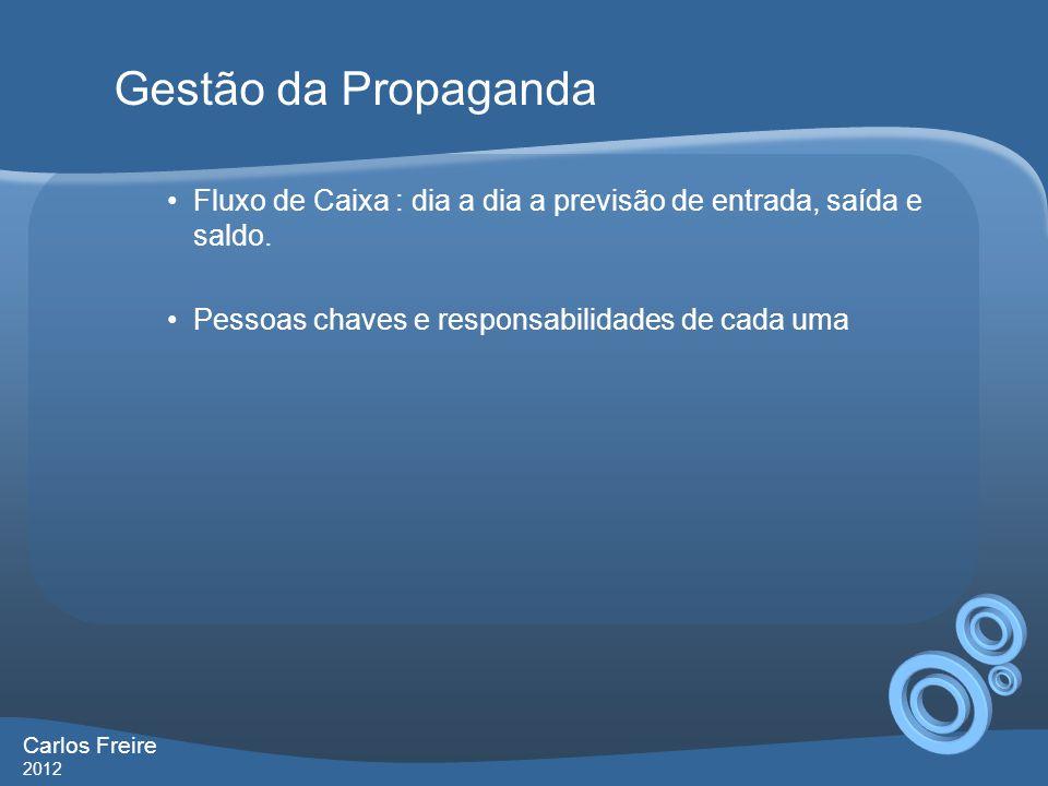 Gestão da Propaganda Fluxo de Caixa : dia a dia a previsão de entrada, saída e saldo. Pessoas chaves e responsabilidades de cada uma.