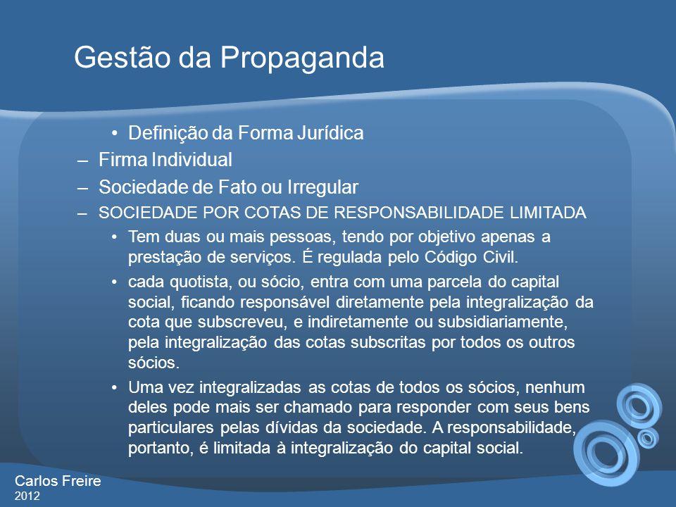Gestão da Propaganda Definição da Forma Jurídica Firma Individual
