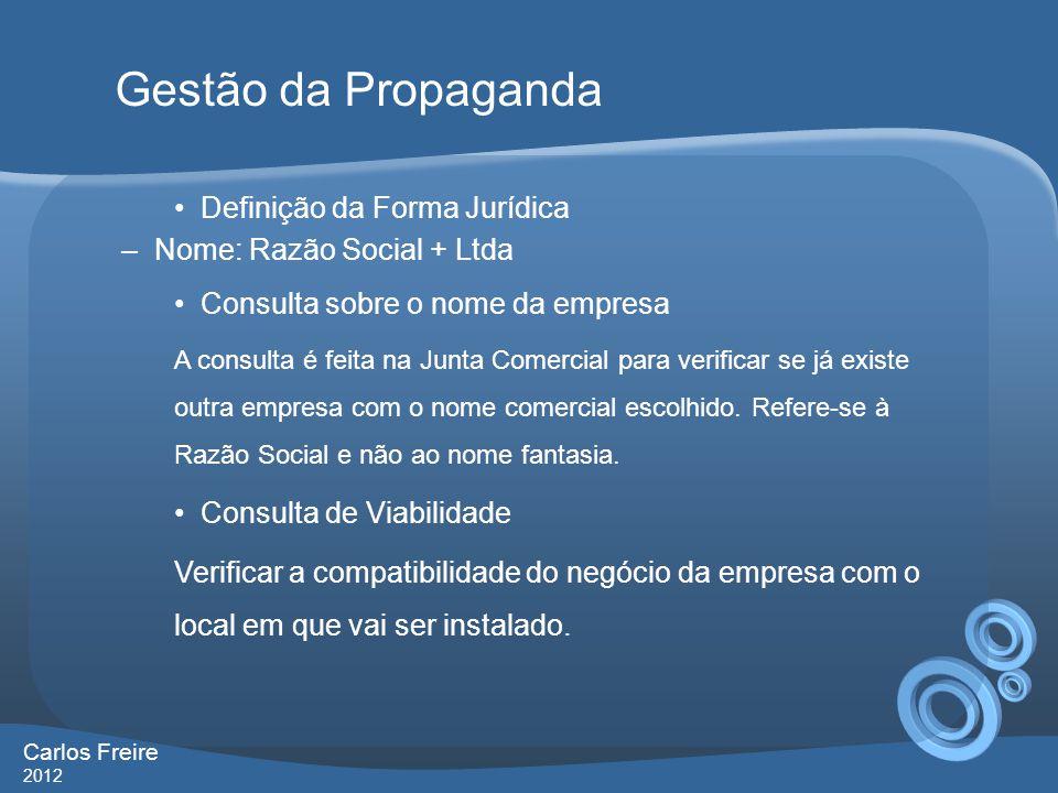 Gestão da Propaganda Definição da Forma Jurídica
