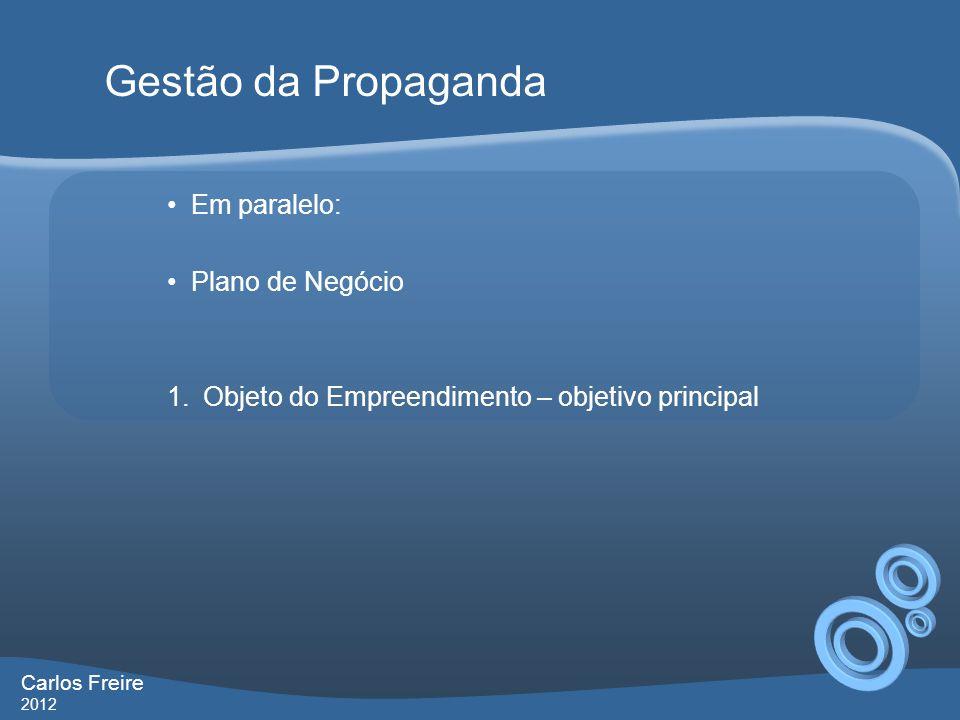 Gestão da Propaganda Em paralelo: Plano de Negócio