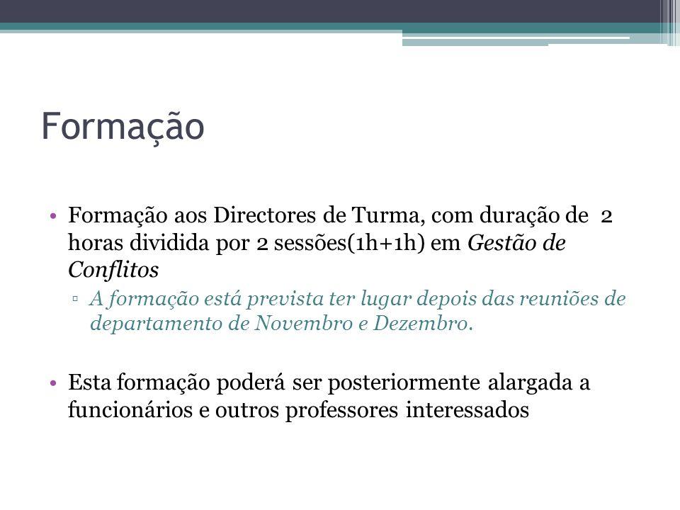 Formação Formação aos Directores de Turma, com duração de 2 horas dividida por 2 sessões(1h+1h) em Gestão de Conflitos.