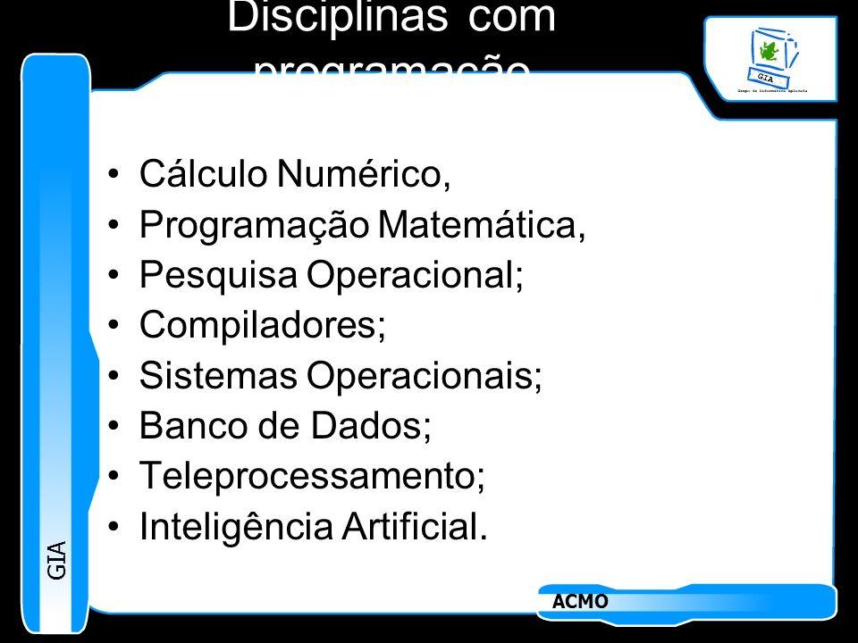 Disciplinas com programação