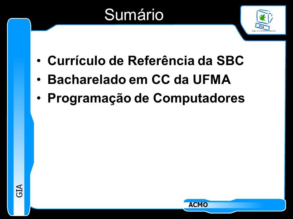 Sumário Currículo de Referência da SBC Bacharelado em CC da UFMA