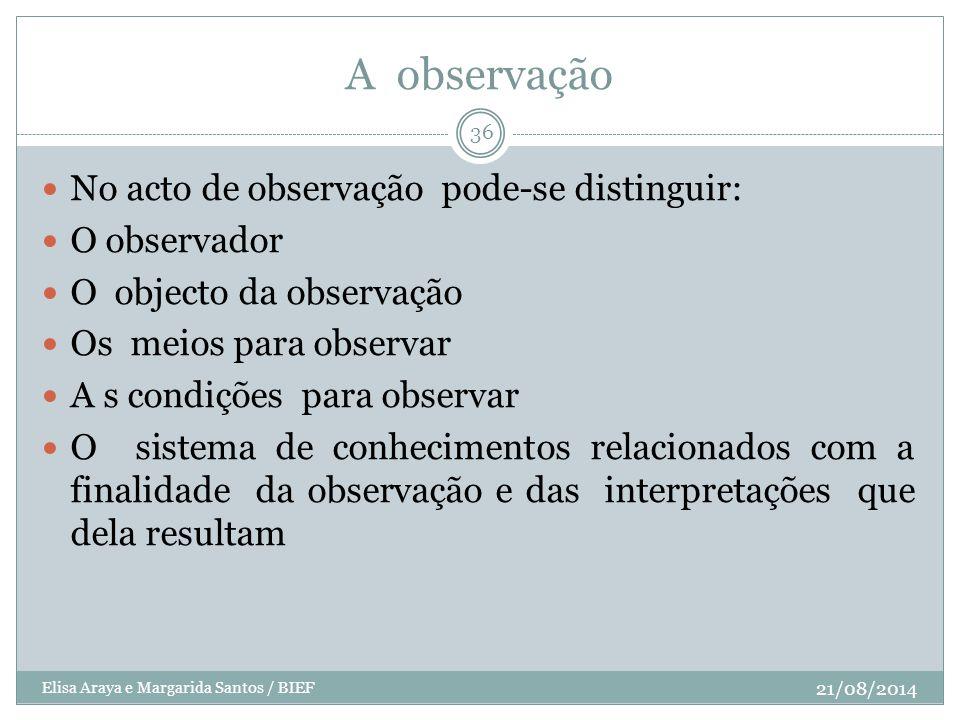 A observação No acto de observação pode-se distinguir: O observador
