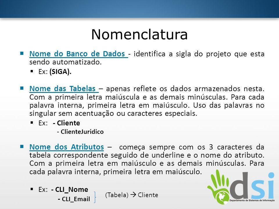 Nomenclatura Nome do Banco de Dados - identifica a sigla do projeto que esta sendo automatizado. Ex: (SIGA).