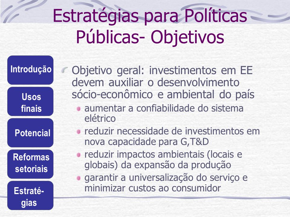 Estratégias para Políticas Públicas- Objetivos