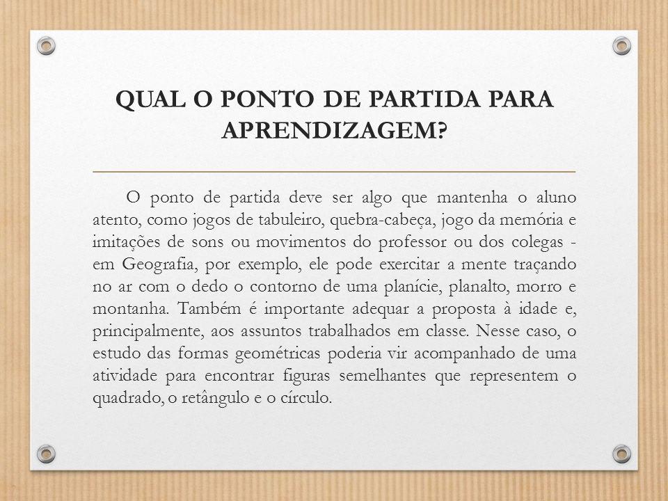 QUAL O PONTO DE PARTIDA PARA APRENDIZAGEM