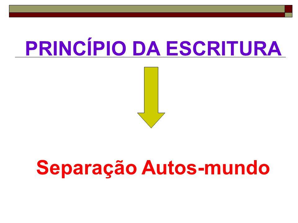 PRINCÍPIO DA ESCRITURA Separação Autos-mundo