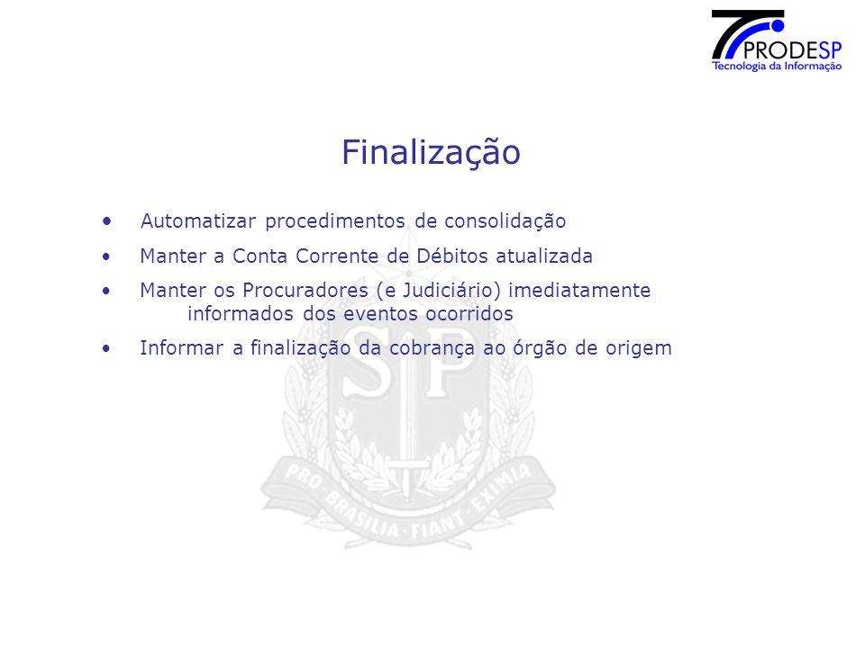 Finalização Automatizar procedimentos de consolidação