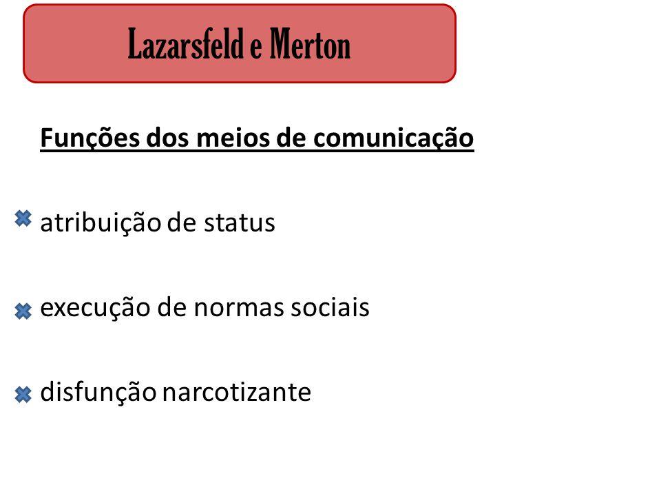 Lazarsfeld e Merton Funções dos meios de comunicação atribuição de status execução de normas sociais disfunção narcotizante