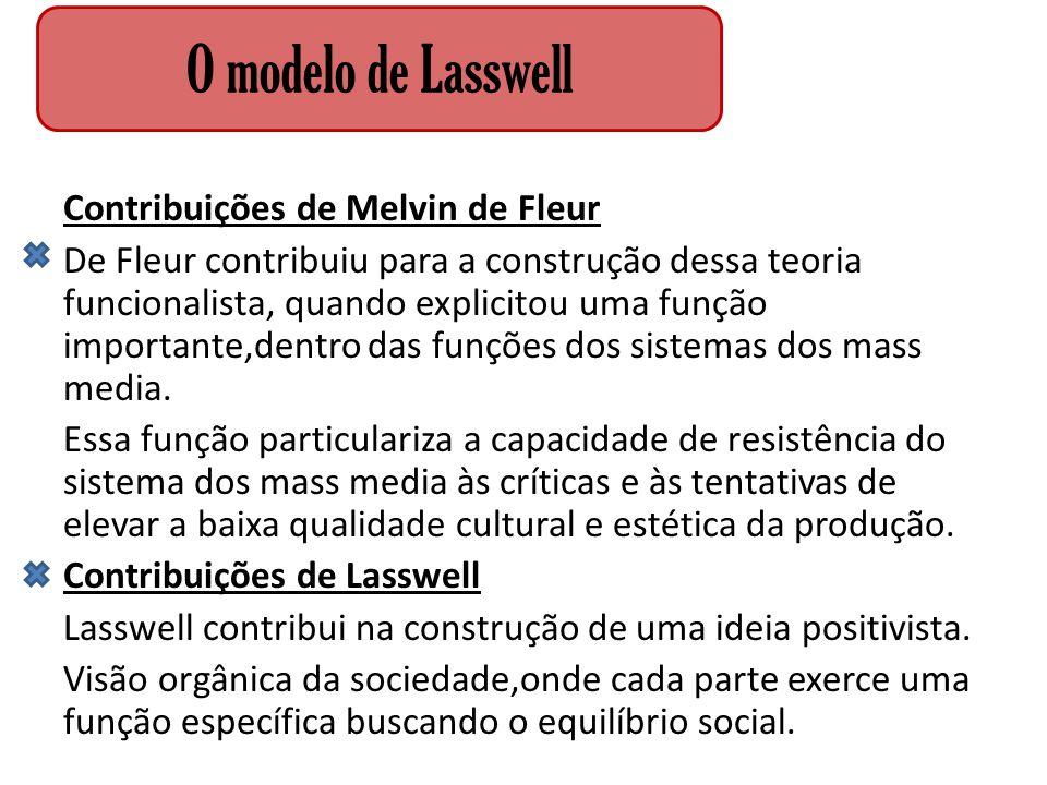 O modelo de Lasswell Contribuições de Melvin de Fleur