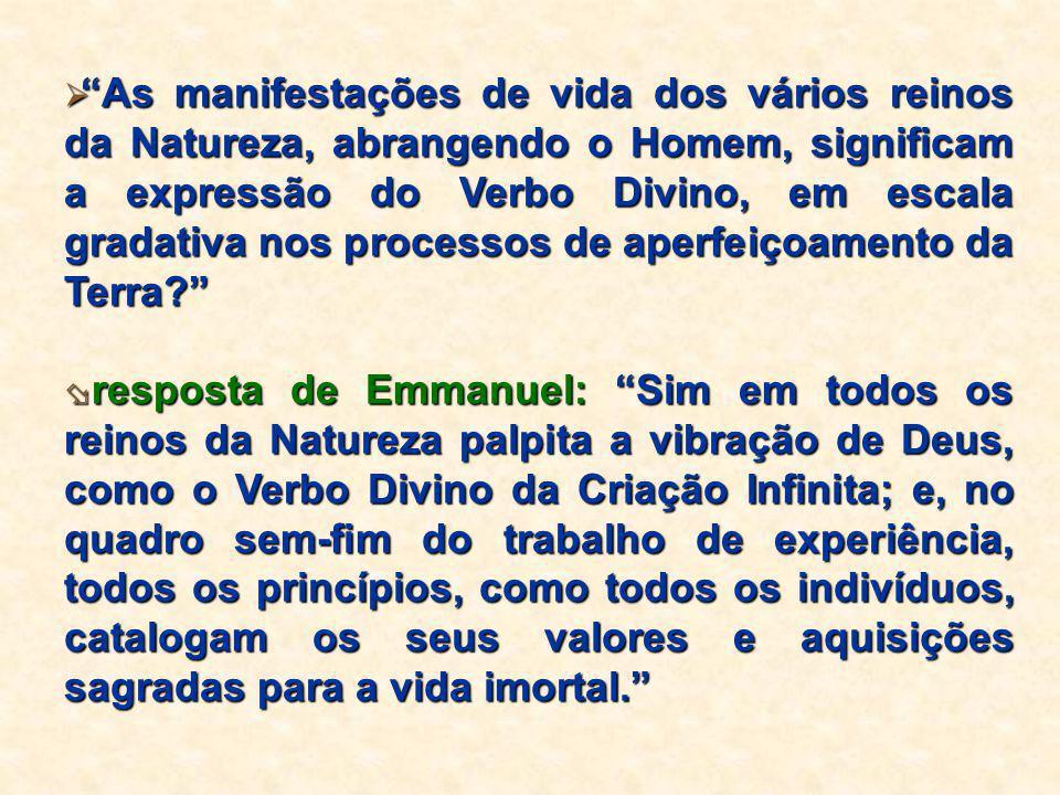 As manifestações de vida dos vários reinos da Natureza, abrangendo o Homem, significam a expressão do Verbo Divino, em escala gradativa nos processos de aperfeiçoamento da Terra