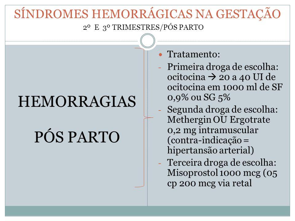 SÍNDROMES HEMORRÁGICAS NA GESTAÇÃO
