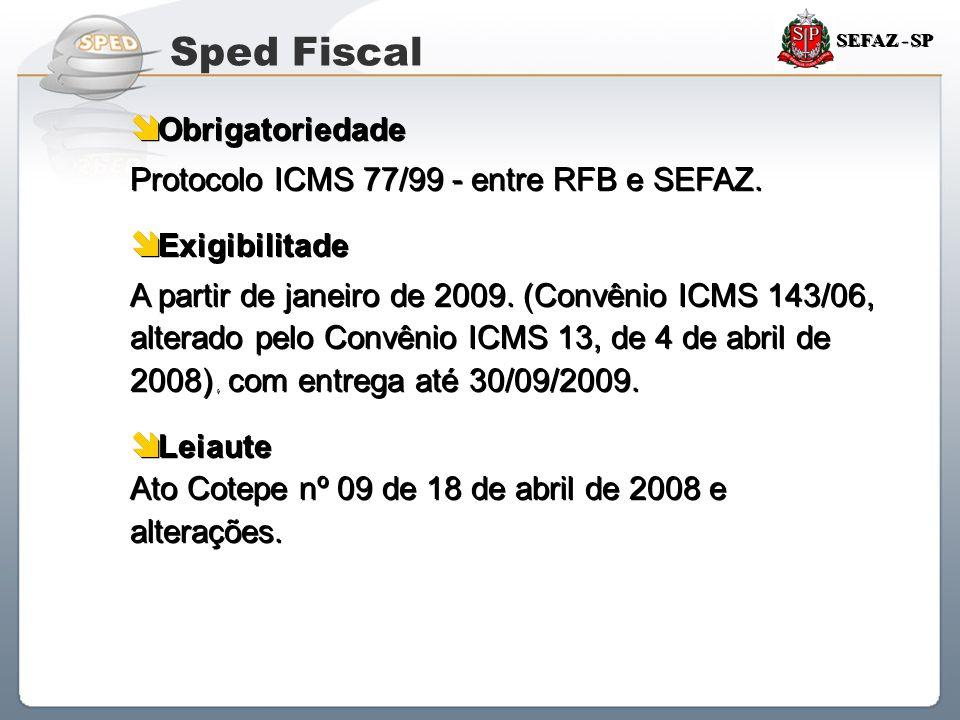 Sped Fiscal Obrigatoriedade Protocolo ICMS 77/99 - entre RFB e SEFAZ.