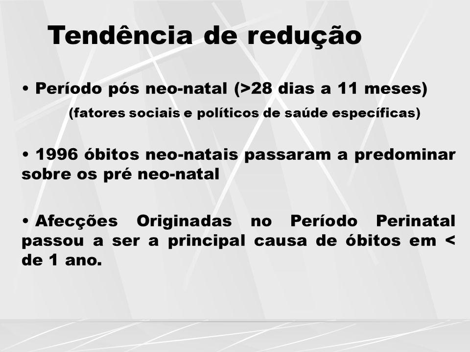 Tendência de redução Período pós neo-natal (>28 dias a 11 meses)