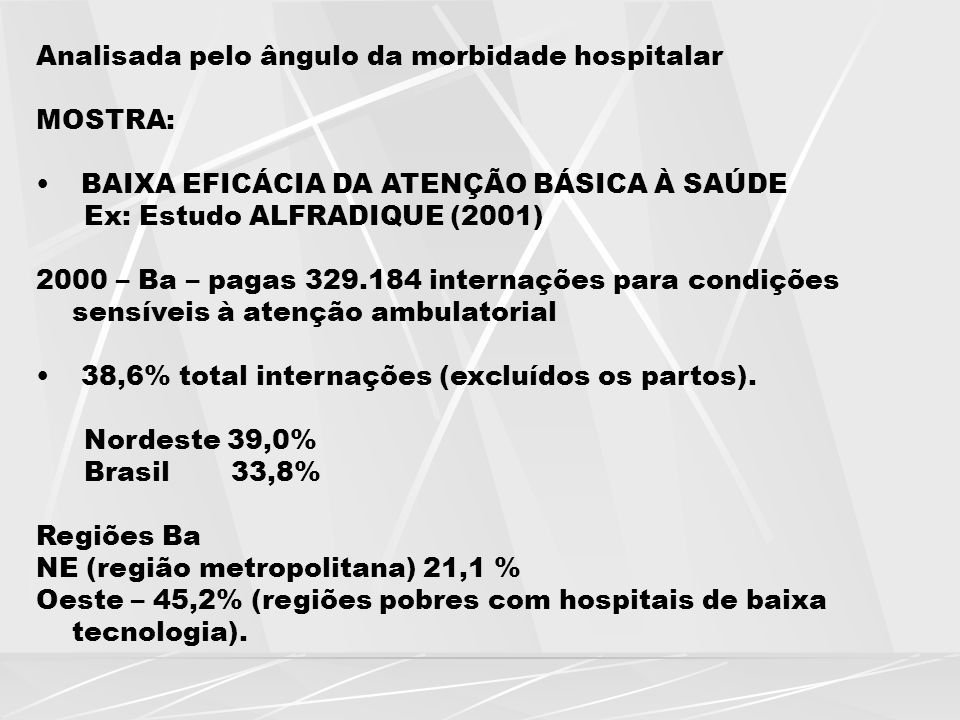 Analisada pelo ângulo da morbidade hospitalar