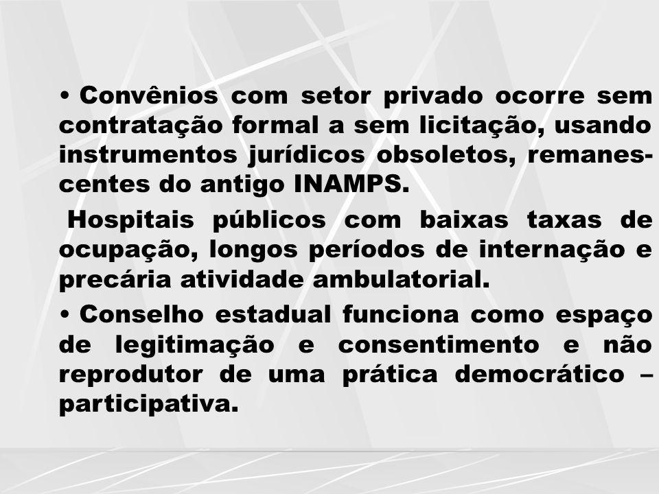 Convênios com setor privado ocorre sem contratação formal a sem licitação, usando instrumentos jurídicos obsoletos, remanes-centes do antigo INAMPS.