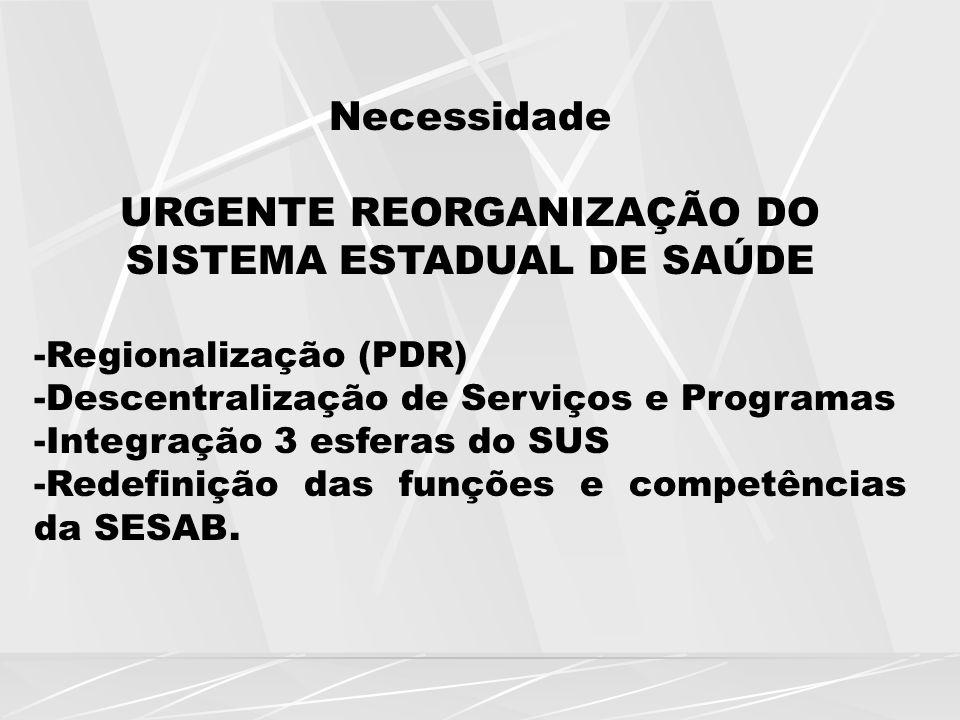 URGENTE REORGANIZAÇÃO DO SISTEMA ESTADUAL DE SAÚDE