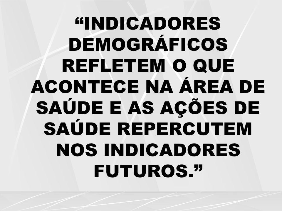INDICADORES DEMOGRÁFICOS REFLETEM O QUE ACONTECE NA ÁREA DE SAÚDE E AS AÇÕES DE SAÚDE REPERCUTEM NOS INDICADORES FUTUROS.