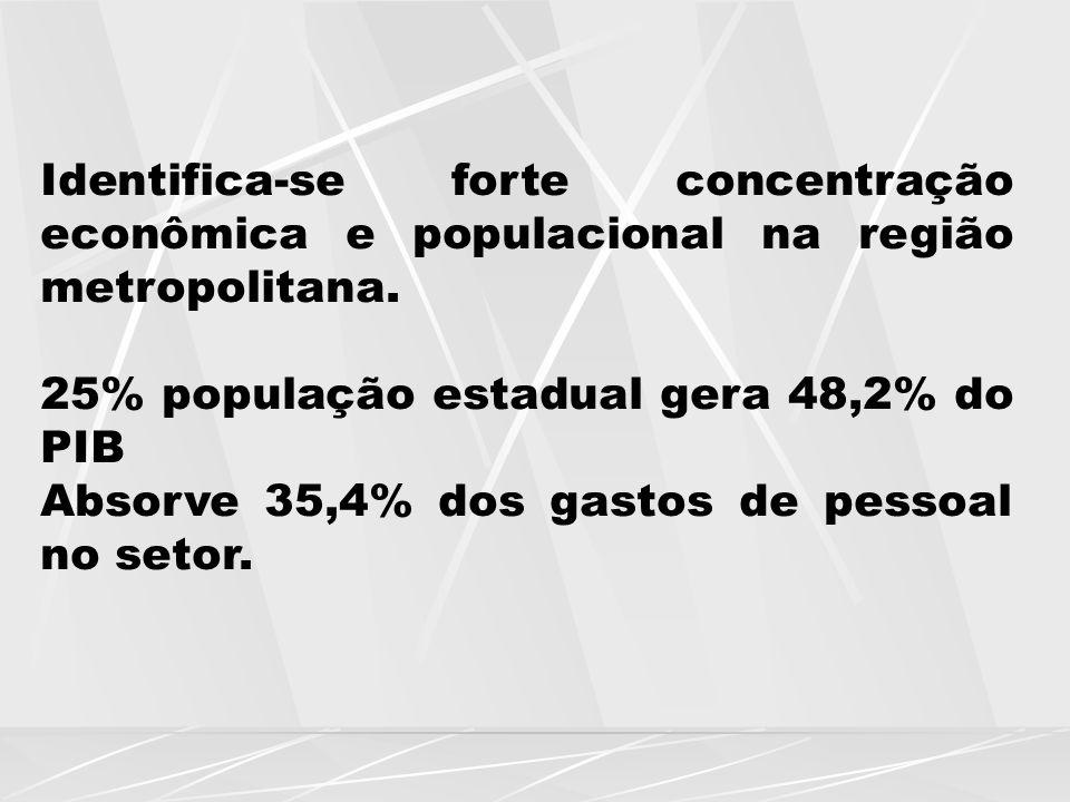 Identifica-se forte concentração econômica e populacional na região metropolitana.