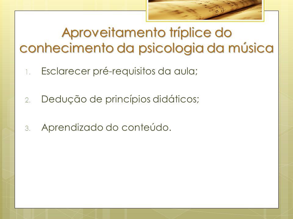 Aproveitamento tríplice do conhecimento da psicologia da música
